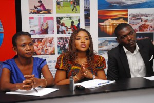 L-R: Taiye Jigide, Head of Operations; Olufunlayo Faloye, CEO and Arinze Adigwe, Head of Customer Relations all of World 'N Traveland at a press conference to unveil the company's unique self-service travel kiosk  in Lagos.